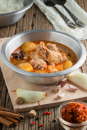 spicy chicken: Chicken Mussaman Curry with ingredient, Spices and herbs