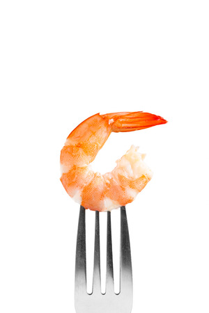 steamed shrimp on a fork, isolated on white background Stock Photo