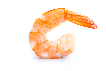 caterers: steamed shrimp isolated on white background
