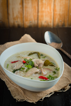 Coconut milk with chicken. Traditional thai soup Tom Kha Gai