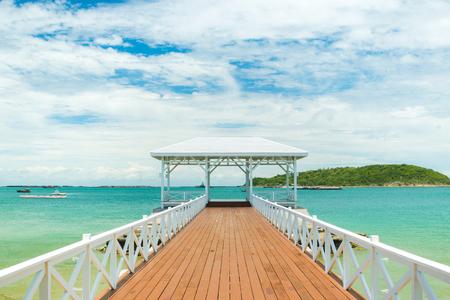 chonburi: wooden bridge pier in Koh Sri Chang. Chonburi, Thailand Stock Photo
