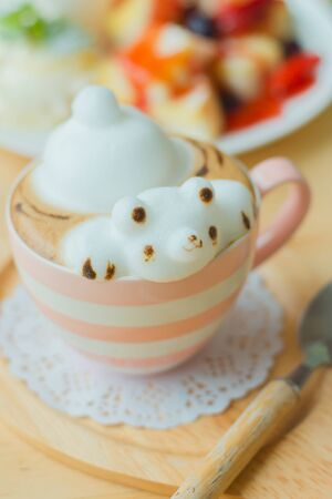 3d art: Coffee cup frothed milk teddy bear 3D art Stock Photo