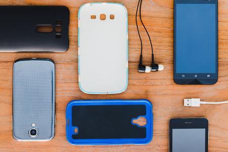 携帯電話および付属品の背景、 写真素材