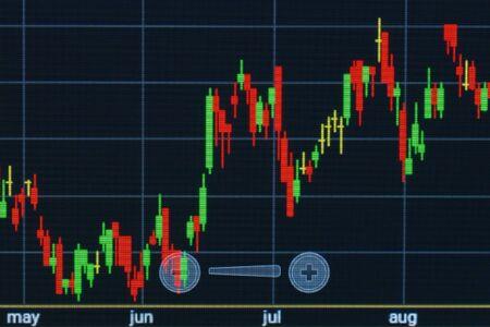 Graph for trading on stock market. Closeup photo. Archivio Fotografico