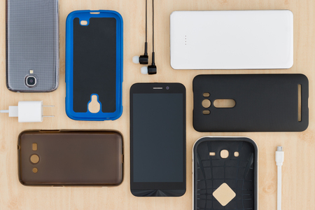 accessories: collection Cell phone,  smartphone and accessories for background