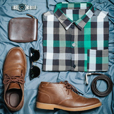 hipster vintage clothes and accessories collection casual concept, top view, Flat Lay
