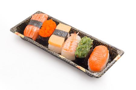 sushi mini set sashimi isolated on white background Stock Photo