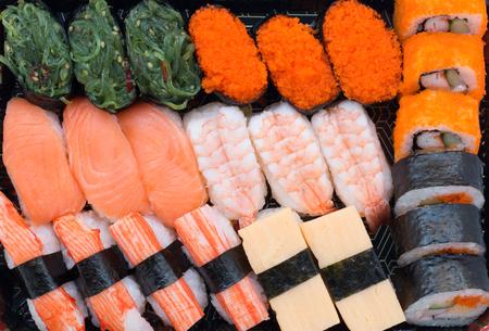 sushi sashimi set isolated on white background Stock Photo