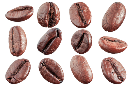 コーヒー豆は白い背景を分離します。