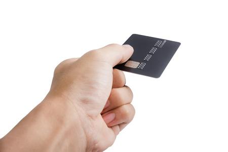 creditcards: hand holding a black credit card, closeup