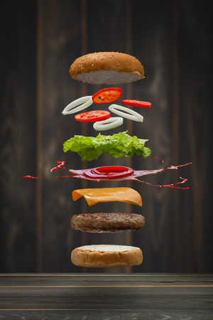 Tasty grilled beef Burger food Floating, food flying style. Reklamní fotografie