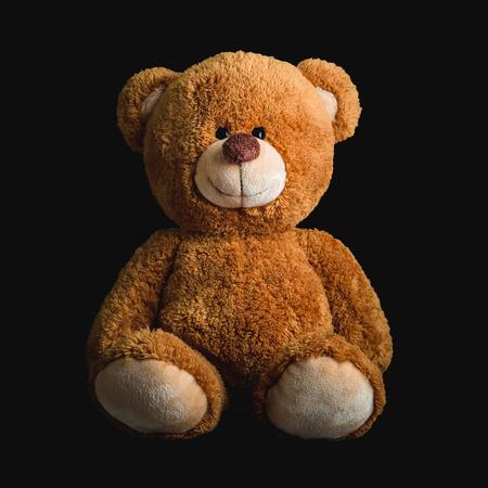 simple life: Cute teddy bears on black  background