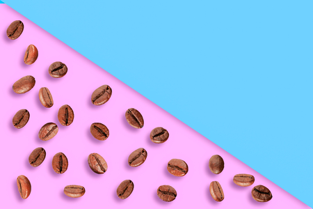 coffee bean on blue, pink background.