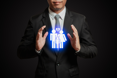 Businessman with icon Insurance concept.