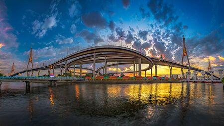 Panorama - The Bhumibol Bridge1 or Industrial Ring Bridge in night time.