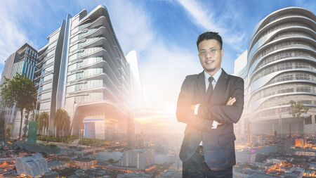 Asian businessmen in the city with morning light. Stock Photo