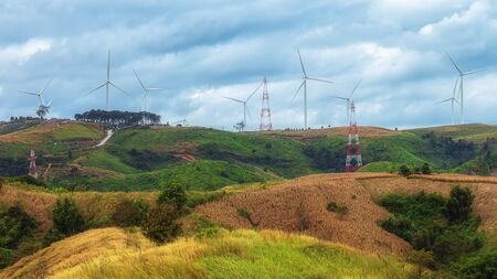 wind turbine, wind power, wind energy converter at Khao Kho, phetchabun, Thailand