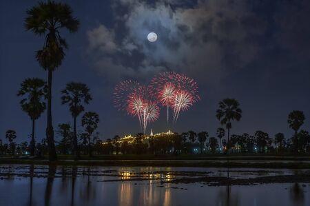 Fireworks in Phra Nakhon Khiri Historical Park, Phetchaburi, thailand