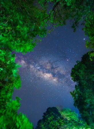 Milky way at Huay Mae Kamin Waterfall at Kanchanaburi, Thailand.