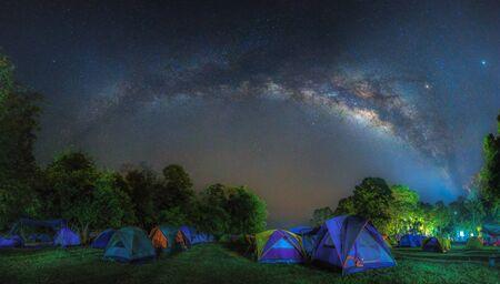 Panorama Milky way at Huay Mae Kamin Waterfall in rainforest at Kanchanaburi, Thailand.