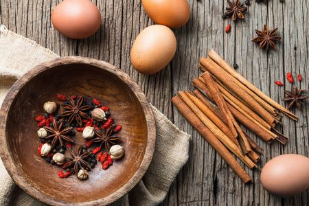 Spices for cooking Thai food ไข่พะโล้ (Egg and Pork in Sweet Brown Sauce)