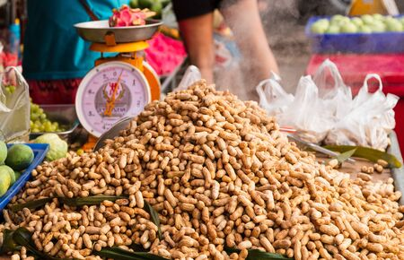Boiled peanuts sold at local markets in Thailand.