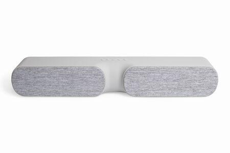 Elegant gray boutique speaker on a white background.