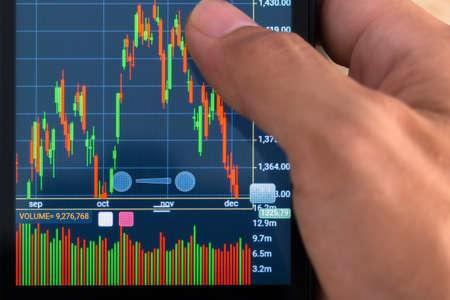 trade stock market closeup shot focus on screen