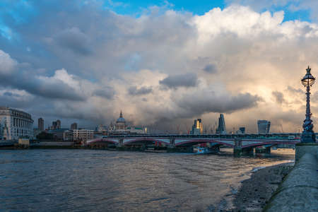 blackfriars bridge: Blackfriars bridge and the City of London skyline