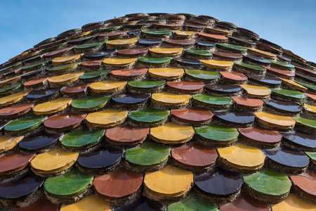 rood: A domed rood on a building covered with multi-coloured ceramic tiles Stock Photo
