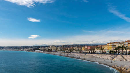 cote d'azure: Promenade des Anglais in Nice running along the beach and the Mediterranean Sea