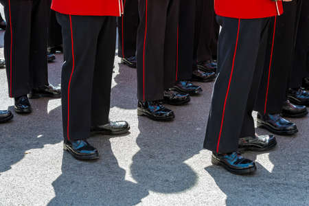ceremonial: British soldiers wearing red ceremonial uniforms lined up with polished boots