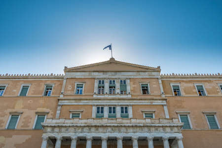 syntagma: The frontage of the Greek Parliament building in Syntagma Square Athens