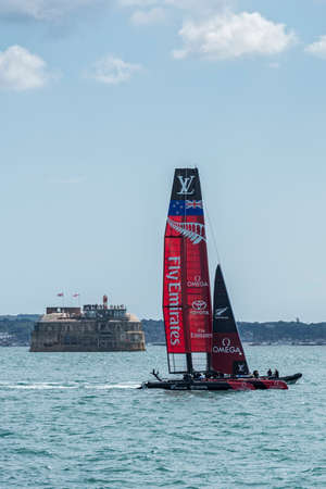 americas: PORTSMOUTH, UK - JULY 25: The New Zealand Team Emirates Americas Cup boat sailing in the Americas Cup World Series qualifiers in Portsmouth shown on July 25, 2015 in Portsmouth, UK