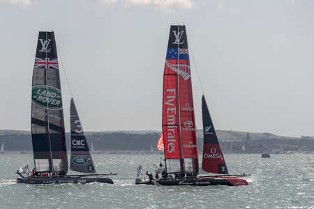 the americas: PORTSMOUTH, UK - JULY 25: The Team Emirates and Land Rover BAR Americas Cup boats sailing in the Americas Cup World Series qualifiers in Portsmouth shown on July 25, 2015 in Portsmouth, UK