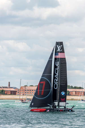 america's cup america: PORTSMOUTH, UK - JULY 25: The United States Team Oracle Americas Cup boat sailing in the Americas Cup World Series qualifiers in Portsmouth shown on July 25, 2015 in Portsmouth, UK