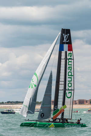 the americas: PORTSMOUTH, UK - JULY 25: The French Groupama Americas Cup boat sailing in the Americas Cup World Series qualifiers in Portsmouth shown on July 25, 2015 in Portsmouth, UK Editorial