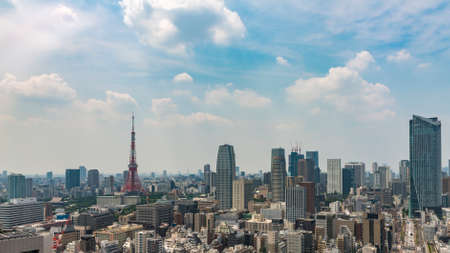 The city skyline in Tokyo showing a mix of architecture styles Imagens