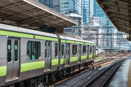 A Yamanote line train in a Tokyo station Editorial