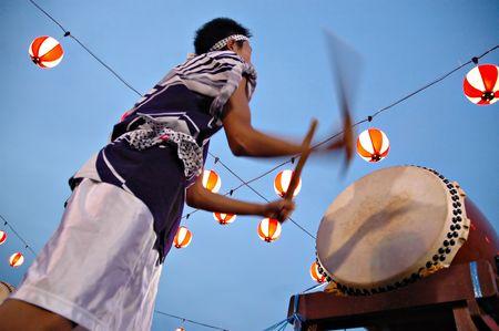 odori: bon odori drummer in motion blur