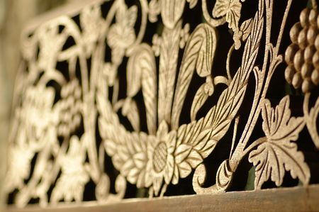 diffused intricate wood carving photo