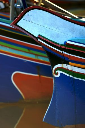 woodcraft: A colorful front of a boat.