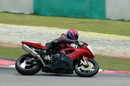 motorcycle racing: superbike in action Stock Photo