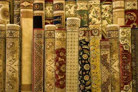 wool rugs: Persian carpets on display in Malaysia.