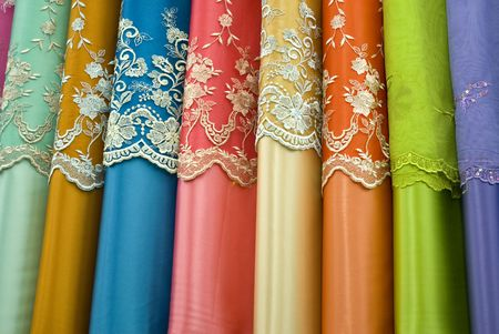 batik motif: Colorful cotton lace  fabrics on sale in Malaysia.