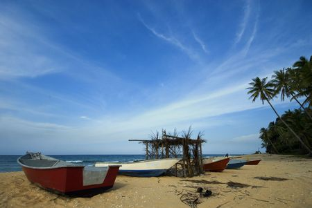 terengganu: Red fisherman boats in Terengganu, Malaysia.