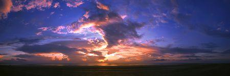 Panoramic view of sunrise at Beserah beach in Kuantan, Pahang, Malaysia. photo