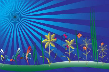 Vector sunburst flowers butterflies grass Vector