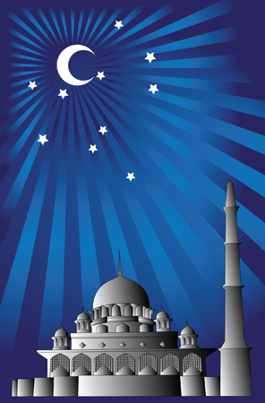 Vector of Islamic mosque with simple 3d effect. Illustration