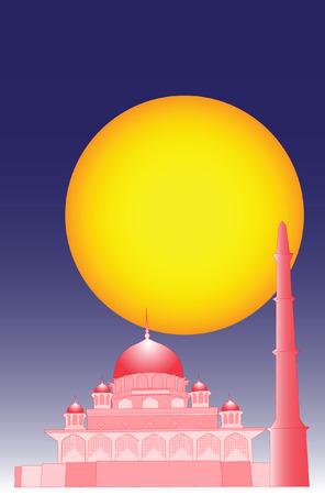 muhammad: Vector de la mezquita isl�mica con una simple efecto 3d.